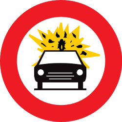 Traffic sign of Belgium: Vehicles with explosive materials prohibited