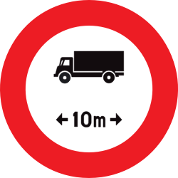 Traffic sign of Belgium: Vehicles longer than indicated prohibited