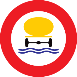 Traffic sign of Belgium: Vehicles with polluted fluids prohibited