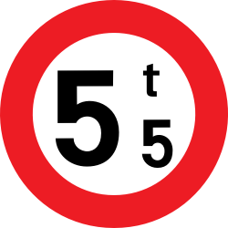 Traffic sign of Belgium: Vehicles heavier than indicated prohibited