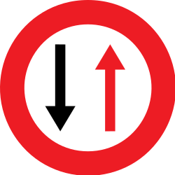 Traffic sign of Belgium: Road narrowing, give way to oncoming drivers