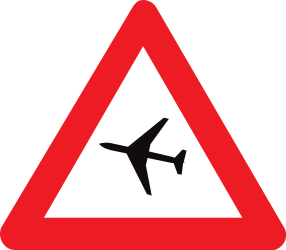 Traffic sign of Belgium: Warning for low-flying aircrafts