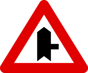 Traffic sign of Belgium: Warning for side road on the right