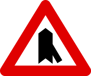 Traffic sign of Belgium: Warning for a crossroad with a sharp side road on the right