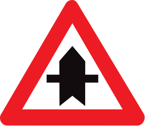 Traffic sign of Belgium: Warning for a crossroad side roads on the left and right