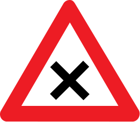 Traffic sign of Belgium: Warning for an uncontrolled crossroad