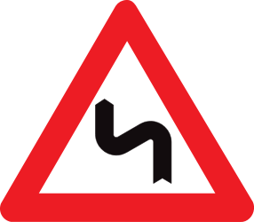 Traffic sign of Belgium: Warning for a double curve, first left then right