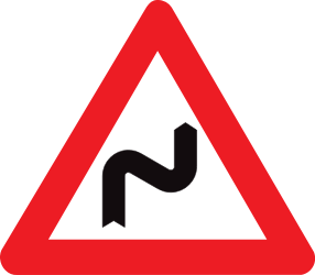 Traffic sign of Belgium: Warning for a double curve, first right then left