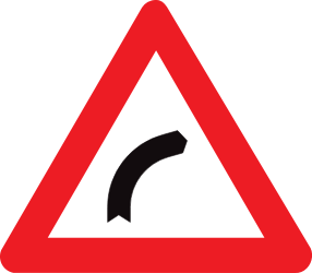 Traffic sign of Belgium: Warning for a curve to the right
