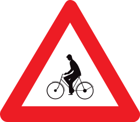 Traffic sign of Belgium: Warning for cyclists