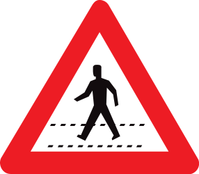 Traffic sign of Belgium: Warning for a crossing for pedestrians