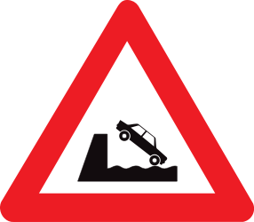 Traffic sign of Belgium: Warning for a quayside or riverbank