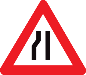 Traffic sign of Belgium: Warning for a road narrowing on the left