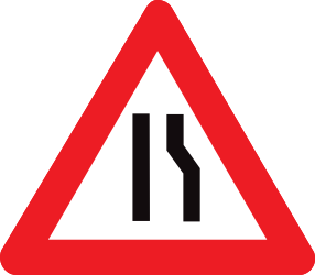 Traffic sign of Belgium: Warning for a road narrowing on the right