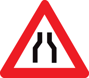 Traffic sign of Belgium: Warning for a road narrowing