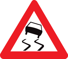 Traffic sign of Belgium: Warning for a slippery road surface