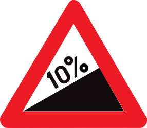 Traffic sign of Belgium: Warning for a steep ascent
