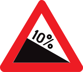 Traffic sign of Belgium: Warning for a steep descent