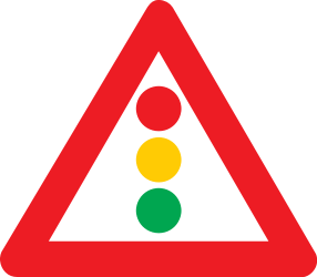 Traffic sign of Belgium: Warning for a traffic light