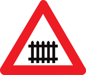 Traffic sign of Belgium: Warning for a railroad crossing with barriers