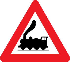 Traffic sign of Belgium: Warning for a railroad crossing without barriers