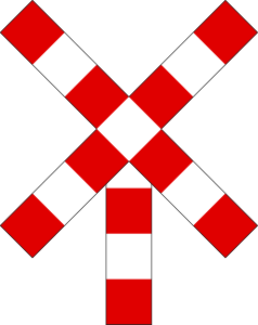 Traffic sign of Belgium: Warning for a railroad crossing with 1 railway