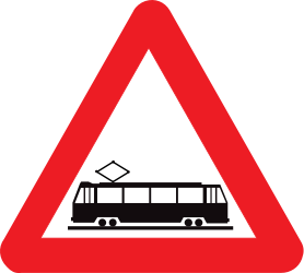 Traffic sign of Belgium: Warning for trams